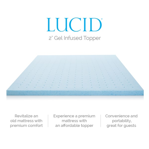Lucid Ventilated 2 Inch Gel Memory Foam Mattress Topper Free Shipping Today 17906000
