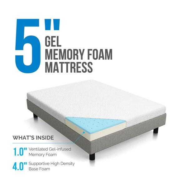 Lucid Dual Layered 5 Inch Full Size Gel Memory Foam Mattress Free Shipping Today 17914925