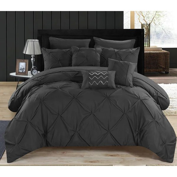Valentina Black Pintuck Microfiber 10Piece Bed in a Bag