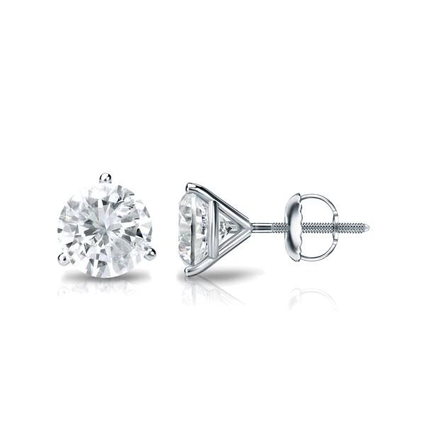 Shop 18k Gold 1ctw Round 3-Prong Martini Diamond Stud