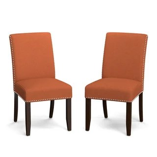 orange kitchen chairs commercial hood parts buy dining room online at overstock com copper grove virgie linen upholstered armless set of 2