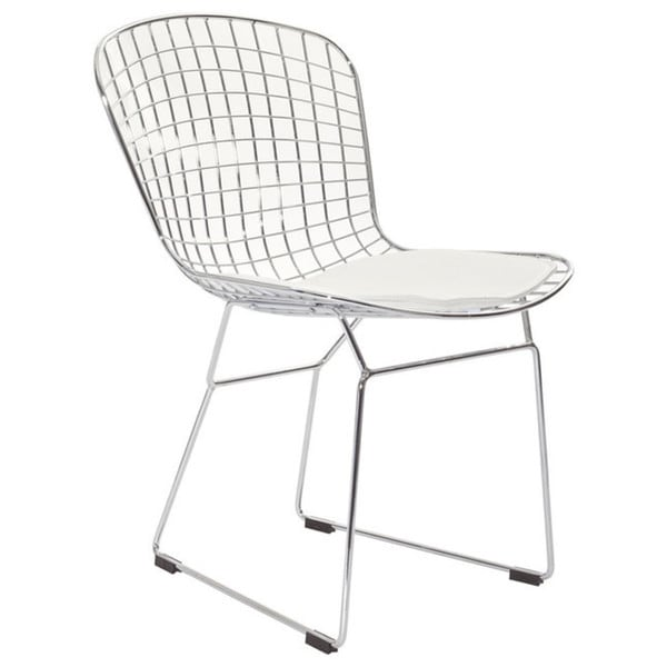 white cushion chair posture pillow shop modern contemporary wire dining chairs with set of 4