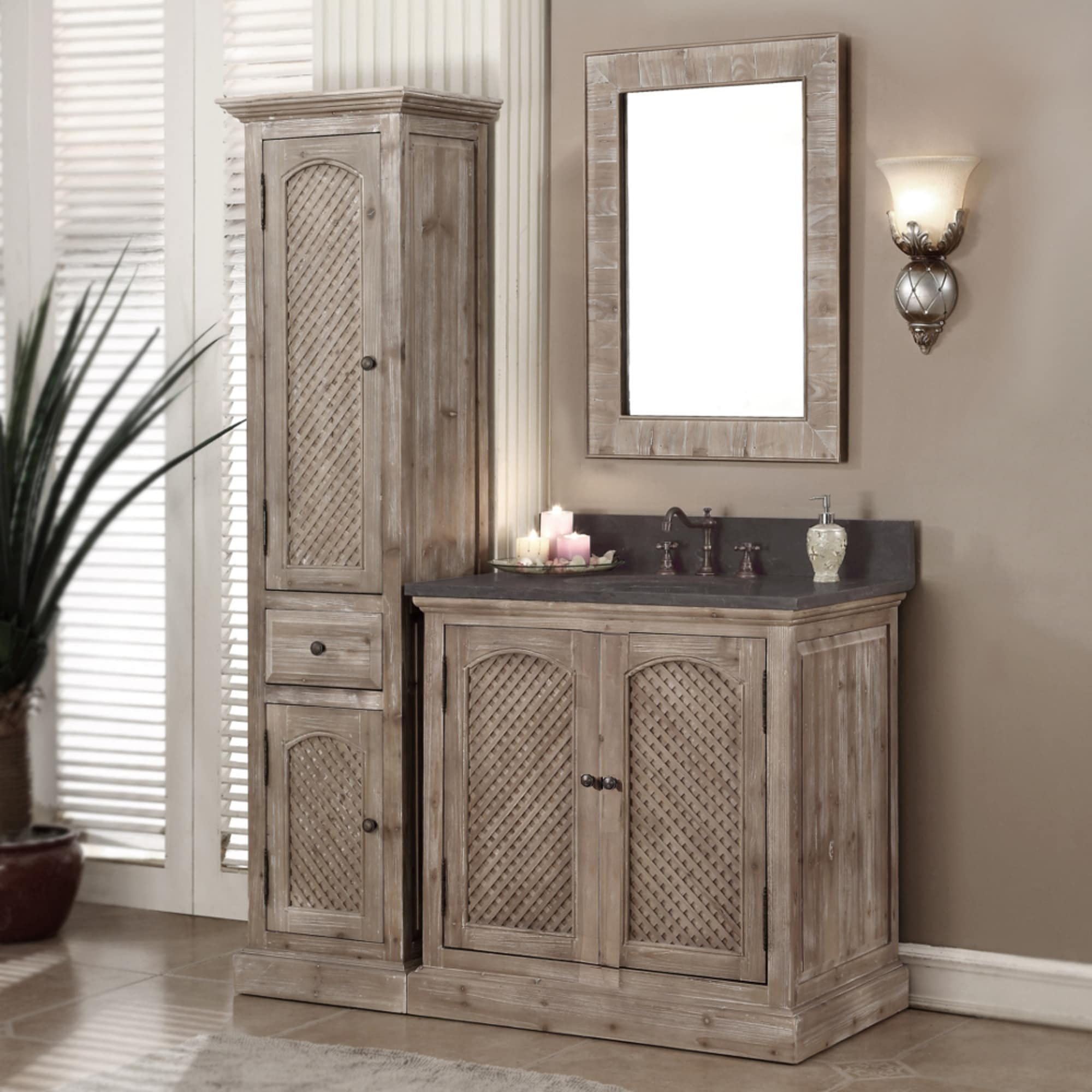 Shop Rustic Style Matte Ash Grey Limestone Top 36 Inch Bathroom Vanity With Matching Wall Mirror And Linen Tower Overstock 10988123