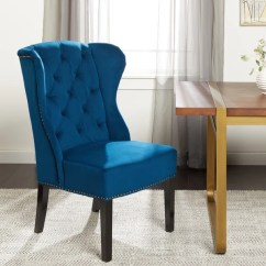 Wingback Dining Chairs Canada Black Computer Chair Shop Abbyson Sierra Tufted Navy Blue Velvet