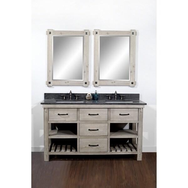 Shop Rustic Style 60 Inch Double Sink Bathroom Vanity With Dark Limestone Top Overstock 10992381