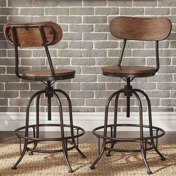 counter height chairs with back posture chair and ottoman set white shop berwick iron industrial adjustable high stools of 2 by inspire