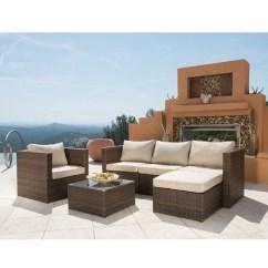 6pc Outdoor Patio Garden Wicker Furniture Rattan Sofa Set Sectional Grey Bed With Chaise Longue Vilasund Corvus Trey 6-piece Brown ...