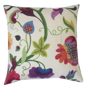 Hesperia Purple Floral Down and Feather Filled 18-inch Throw Pillow