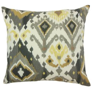 Qortni Yellow Ikat Down and feather Filled 18-inch Throw Pillow