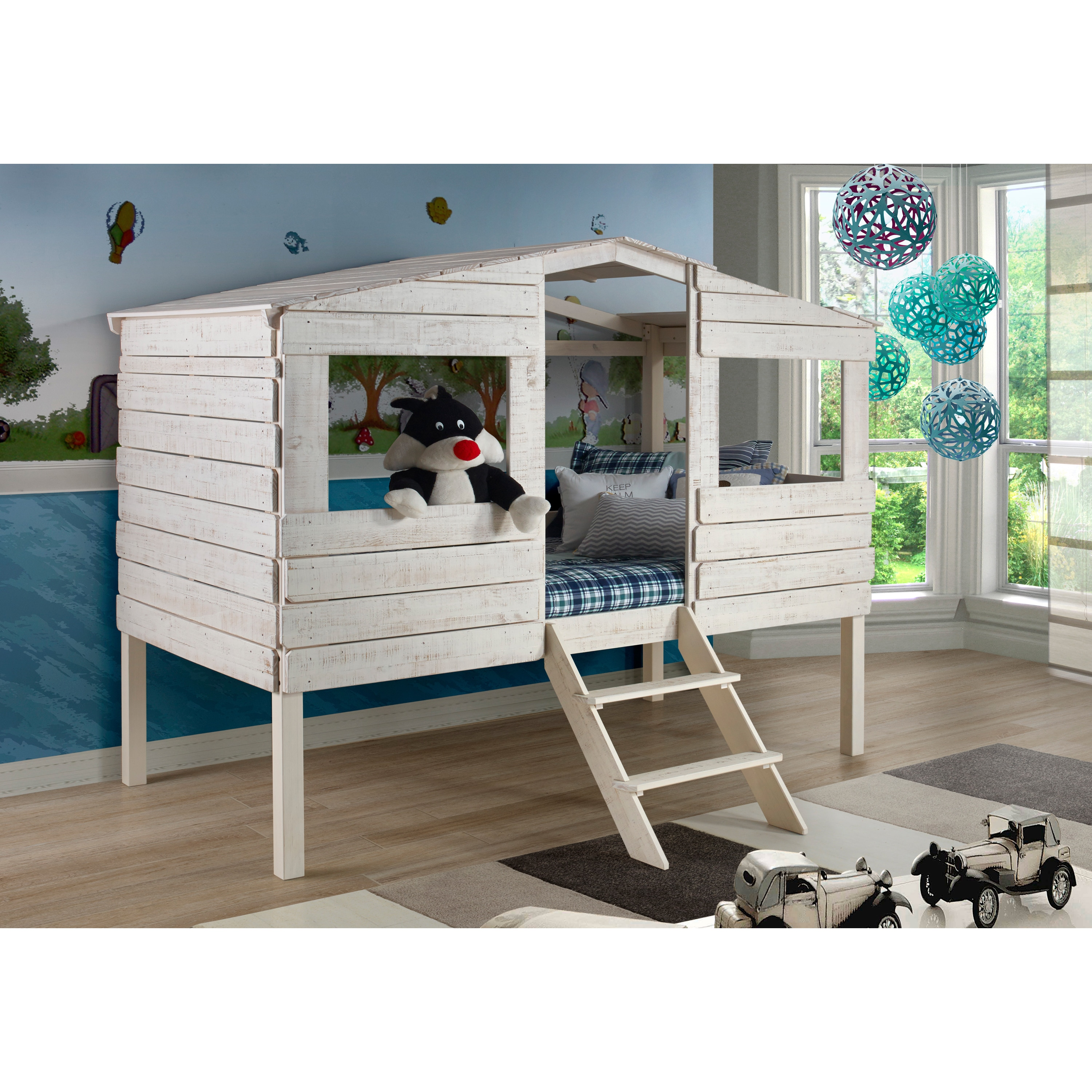 Shop Black Friday Deals On Donco Kids Rustic Sand Twin Tree House Loft Bed Overstock 11098543