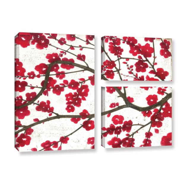 ArtWall Norman Wyatt JR's Ruby Blossoms, 3 Piece Gallery Wrapped Canvas Flag Set - Red
