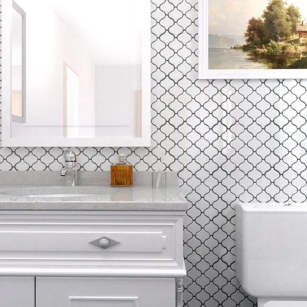 Shop SomerTile 95x1075inch Marrah Lantern Glossy White Porcelain Mosaic Floor and Wall Tile