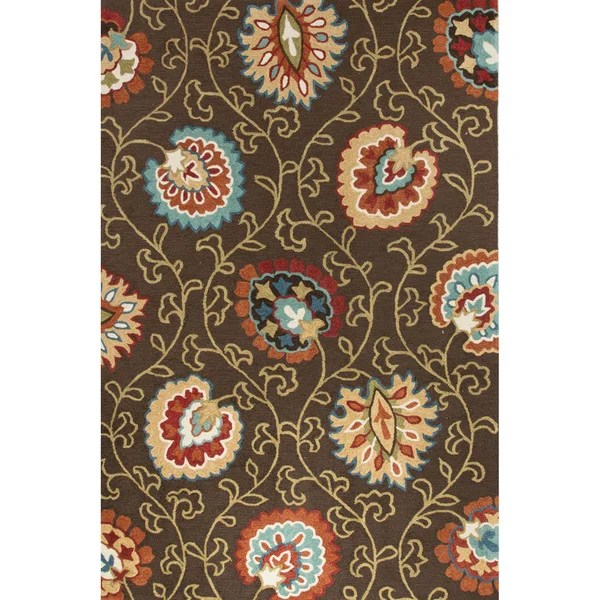 Shop Contemporary Floral Amp Leaves Pattern BrownOrange