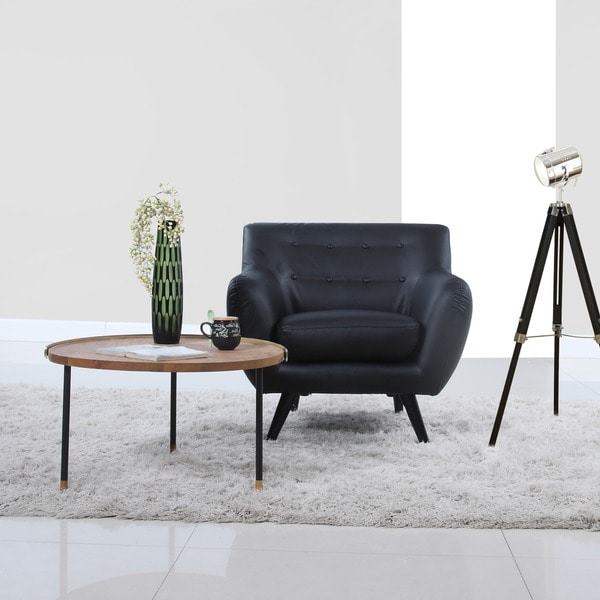 Living Mid Century Leather Black Room Modern