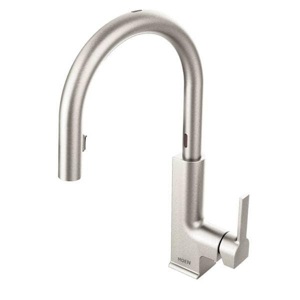moen hands free kitchen faucet outdoor patio shop sto one handle high arc pull down motionsense spot resist stainless finish s72308esrs shipping today overstock com