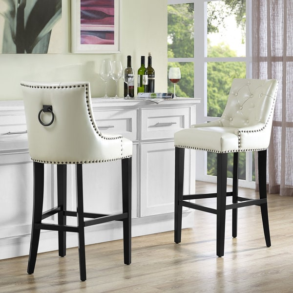 Uptown Cream Leather Counter Stool  18141005  Overstock