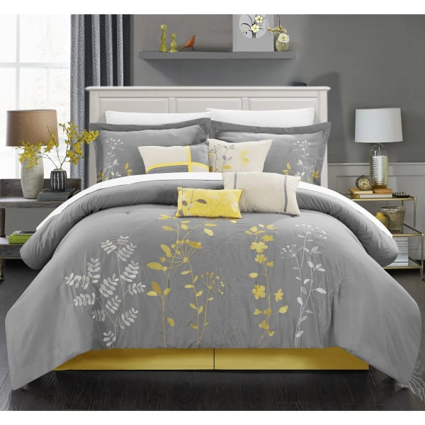 Chic Home 8-piece Fortuno Embroidered Yellow Comforter Set - Free Shipping Orders Over