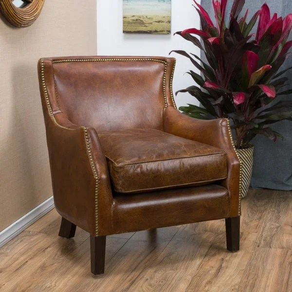 overstock arm chair plastic table and chairs for kids tillo top grain vintage brown leather club by christopher knight home - free shipping ...