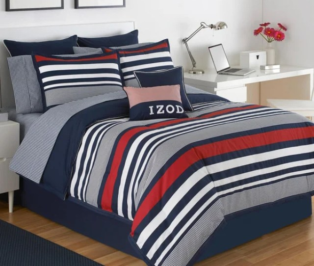 Izod Varsity Stripe  Piece Comforter Set In Red White And Blue Stripes
