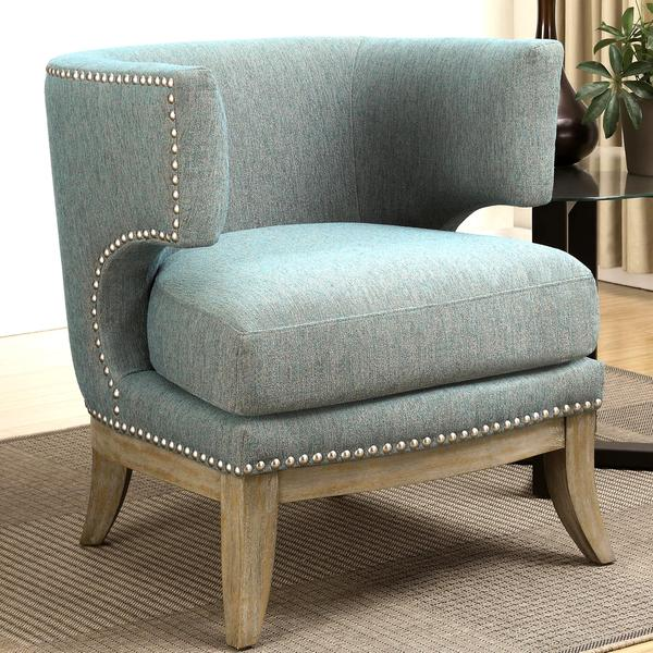 barrel back chair black metal patio chairs shop luxenberg mid century modern design soft blue accent with nailhead trim