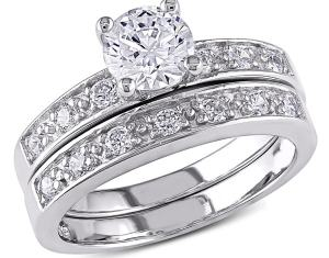 24 Tcw Round Cubic Zirconia 18k Gold Over Sterling Silver Bridal Engagement Ring Wedding Band Set Size 10