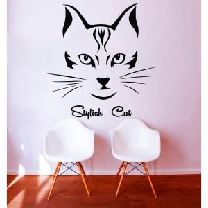 Beauty Salon Wall Decals Cat Vinyl Decals Home Decoration Barbershop Window Decor