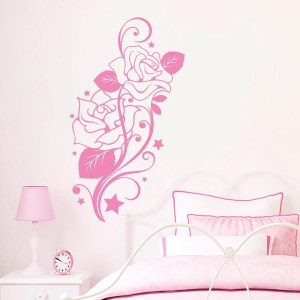 Wall Decal Flower Roses Design Decals for Florists Vinyl Stickers Home Decor Art Murals Pink