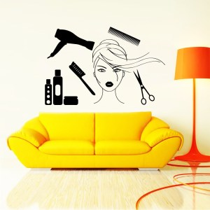 Wall Decal Fashion Beauty Salon Cosmetics Face Girl Woman Long Hair Design Decals Wedding Hair Salon