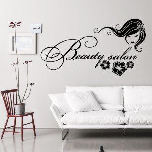 Wall Decal Fashion Beauty Salon Face Girl Long Hair Design Vinyl Decals Wedding Hair Salon