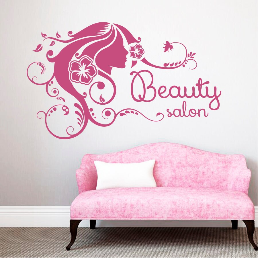 Wall Decal Fashion Beauty Salon Face Girl Woman Long Hair Design Vinyl Decals Decor Pink