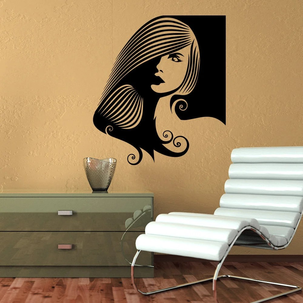 Wall Decal Fashion Beauty Salon Face Girl Woman Long Hair Design Vinyl Decals Decor