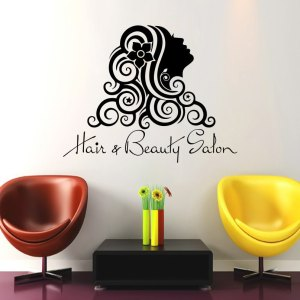 Wall Decal Fashion Beauty Salon Face Girl Woman Long Hair Design Vinyl Decals Wedding Hair