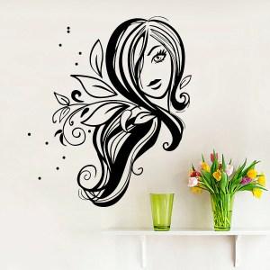 Wall Decal Fashion Beauty Salon Face Girl Woman Long Hair Design Vinyl Decals Room Home Decor