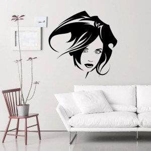 Wall Decal Fashion Hairstyles Design Vinyl Decals Wedding Hair Salon Hairdressing Decor