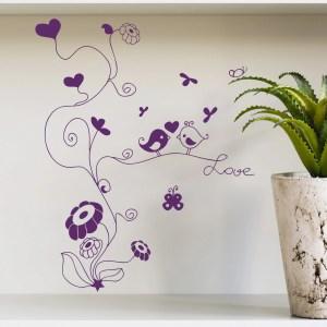 Wall Decal Tree Flower Bird Love Heart Baby Design Decals for Girls Boys Vinyl Stickers Home Decor P