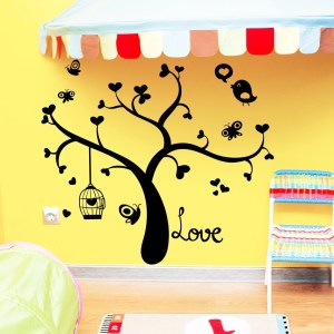 Wall Decal Tree Silhouette Hearts Bird Decals Natural for Nursery Baby Room Vinyl Sticker Decor