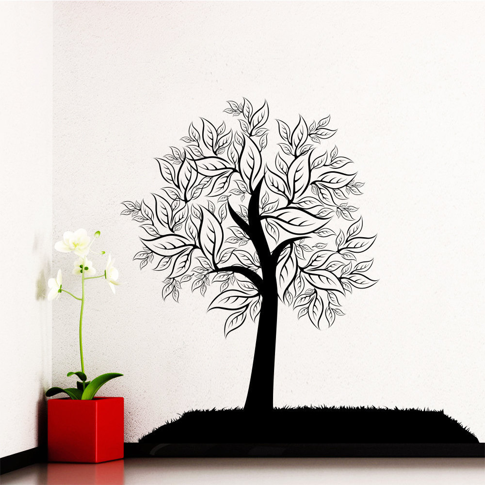 Wall Decal Tree Silhouette Leaves Forest Wall Bedroom Vinyl Stickers Nature Decor Art Murals