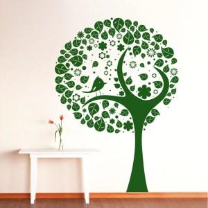 Wall Decal Tree Silhouette Bird Flowers Wall Room Vinyl Stickers Nature Home Decor Art Mural Green