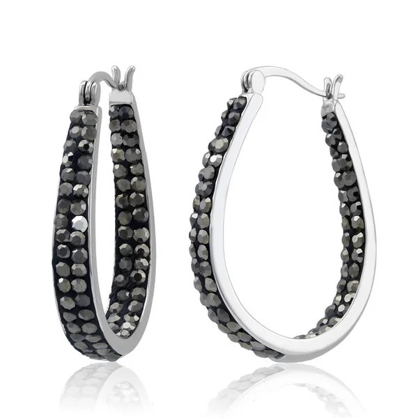 Shop Rhodium-plated Jet Black Crystal In and Out Hoop