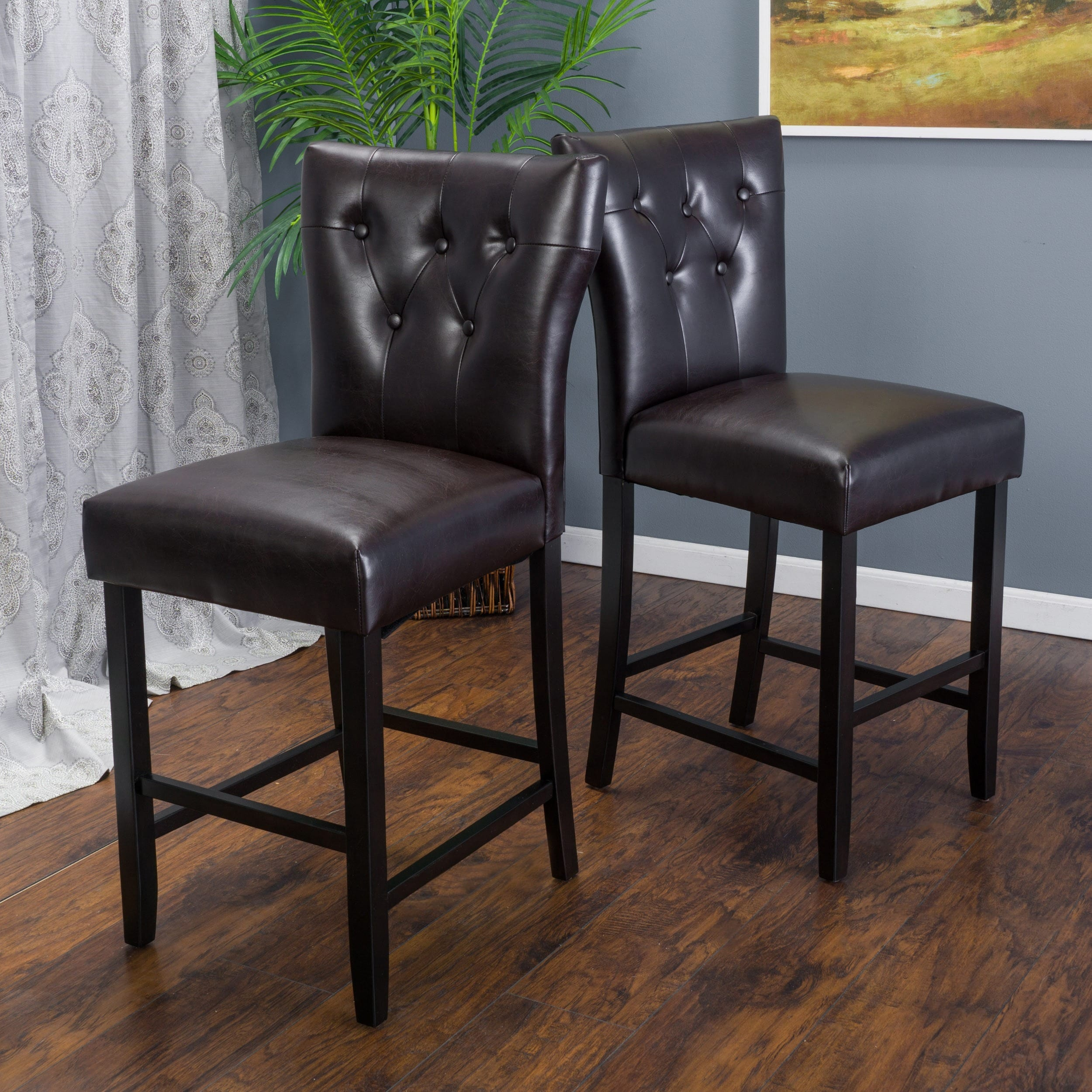 donner 27 inch bonded leather counter stool set of 2 by christopher knight home