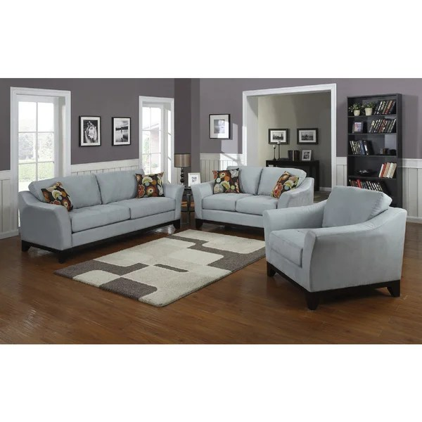 closeout living room furniture sets round rug shop porter avalon powder blue sofa loveseat set with woven floral accent pillows