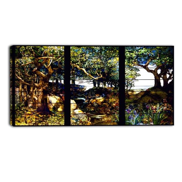 Design Art 'Louis Comfort Tiffany - A Wooded Landscape' Canvas Art Print - 36Wx32H Inches - 3 Panels - Multi-color
