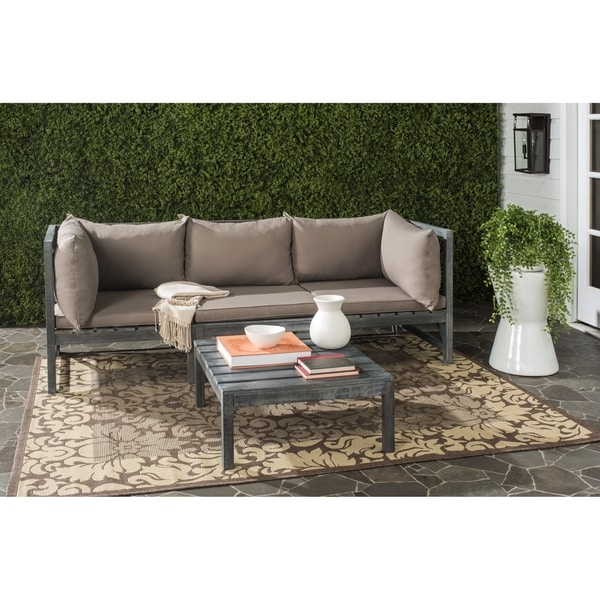 Shop Safavieh Lynwood Modular Outdoor Ash Grey Taupe Sectional  Free Shipping Today