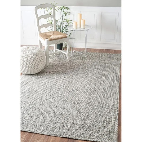Shop NuLOOM Handmade Casual Solid Braided Light Grey Rug
