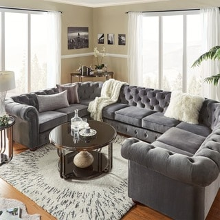 traditional sofa sets living room linen sectional buy furniture online at overstock com knightsbridge tufted scroll arm chesterfield 9 seat u shaped by inspire q artisan