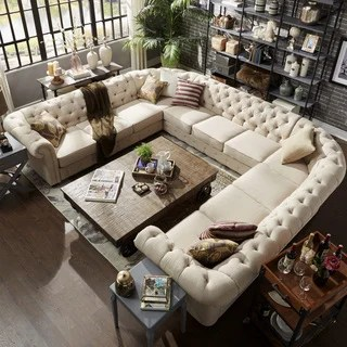 buy living room furniture online tiles for walls in sets at overstock com our best knightsbridge tufted scroll arm chesterfield 11 seat u shaped sectional by inspire q artisan