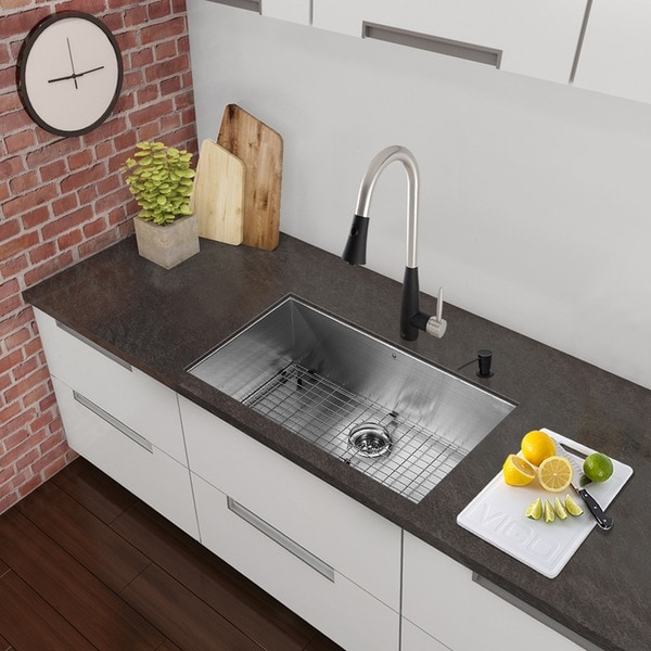 stainless steel undermount kitchen sinks cleaning cabinets shop vigo all in one 23 inch sink and milburn
