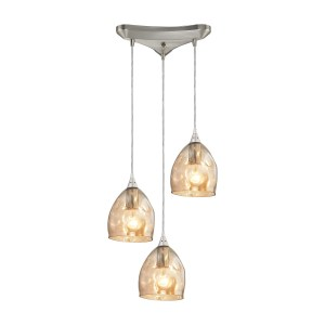 Elk Niche 3-light Pendant in Satin Nickel and Champagne Plated Glass