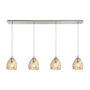 Elk Niche 4-light Pendant in Satin Nickel and Champagne Plated Glass