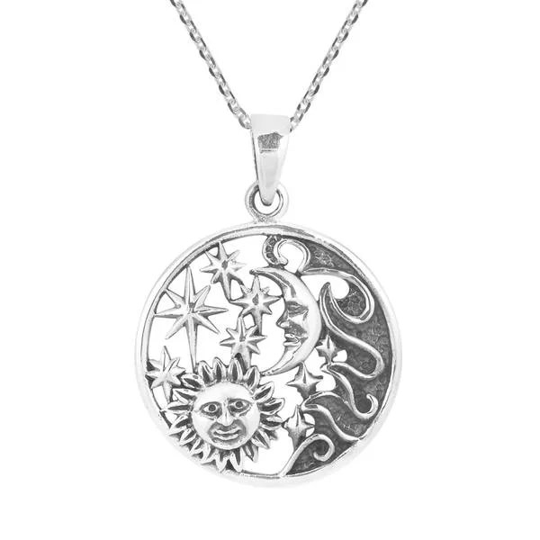 Shop Handmade Celestial Amulet Sun Moon and Star Sterling